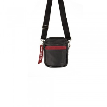 RBF Leather Messenger Bag - black/red