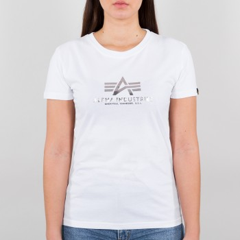 New Basic T Woman Foil Print - white/metalsilver