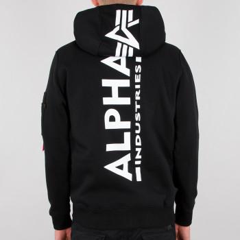 Back Print Zip Hoody - black