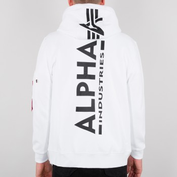 Back Print Zip Hoody - white