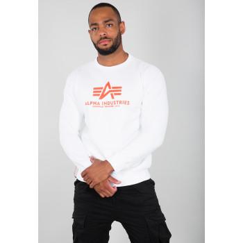 Basic Sweater Neon Print - white/neon orange