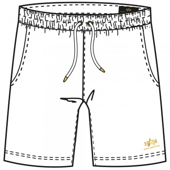 Basic Short SL Foil Print - white/yellow gold