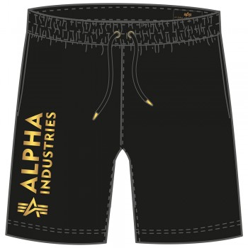 Basic Short AI Foil Print - black/yellow gold