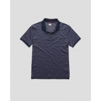 Garment Dyed Tacting Piquet Contrast Collar Polo Shirt - total eclipse