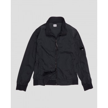 GABARDINE FULL ZIP HOODED OVERSHIRT - BLACK
