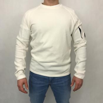 Garment Dyed Fine Chenille Lens Crew Sweat - gauze white