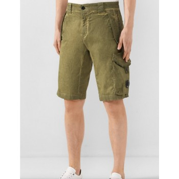 GARMENT DYED STRETCH SATEEN LENS POCKET SHORTS - BURNT OLIVE