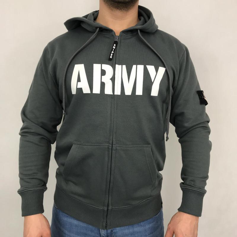 Army Zip Hoody - steel grey
