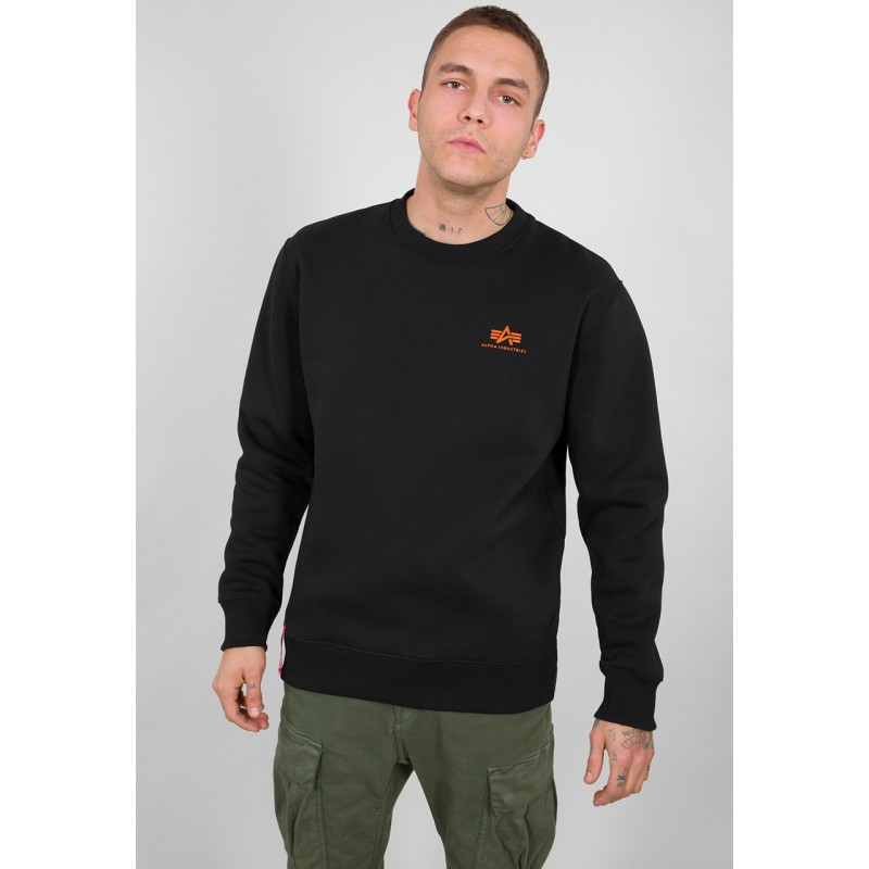 Basic Sweater Small Logo - black/neon orange